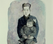 Family portrait of small cotton-padded jacket